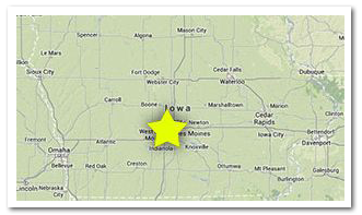 map showing location of iowa funeral home